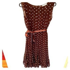 Brown and white polka dot dress.